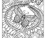 Coloriage Adulte Papillon difficile