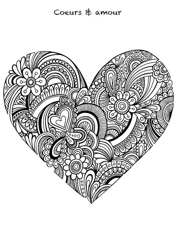 Coloriage et dessins gratuits Coeurs et Amour Adulte à imprimer