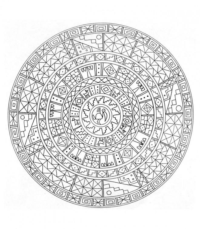 Coloriage et dessins gratuits Mandala adultes animaux à imprimer