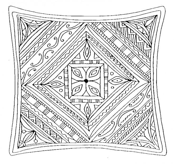 Coloriage et dessins gratuits Mandala Carreau à imprimer