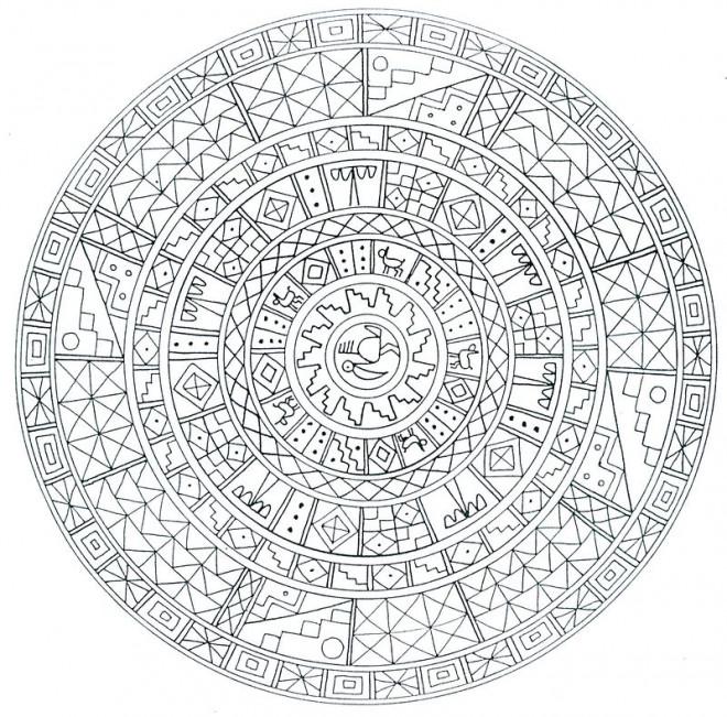 Coloriage et dessins gratuits Mandala Difficile circulaire à imprimer