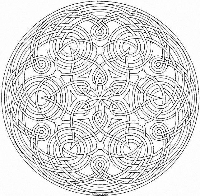 Coloriage et dessins gratuits Mandala Difficile en noir et blanc à imprimer