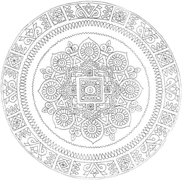 Coloriage et dessins gratuits Mandala Difficile indien à imprimer