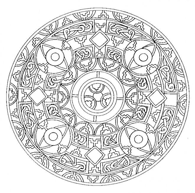 Coloriage et dessins gratuits Mandala Difficile silhouette à imprimer