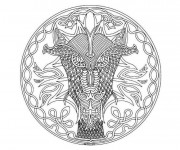 Coloriage Mandala Dragon difficile
