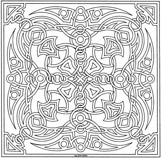 Coloriage et dessins gratuits Mandala dur à télécharger à imprimer