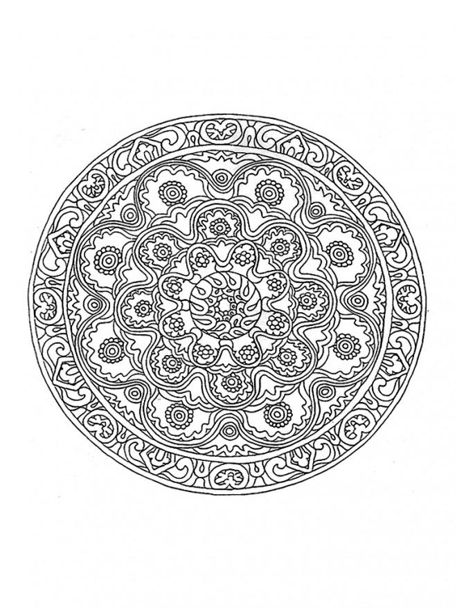 Coloriage et dessins gratuits Mandala Fleurs du Printemps à imprimer