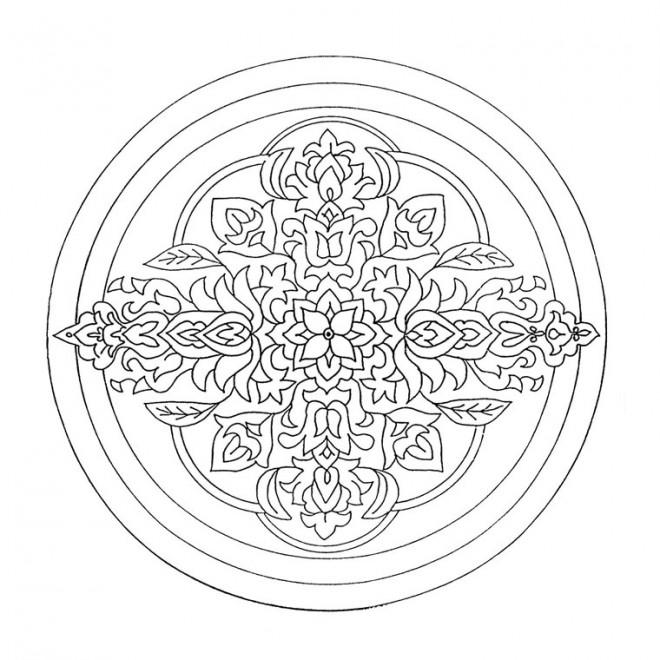 Coloriage et dessins gratuits Mandalas Difficile au crayon à imprimer