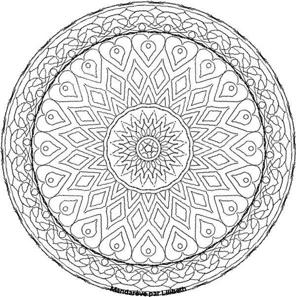 Coloriage et dessins gratuits Mandalas Difficile en noir et blanc à imprimer