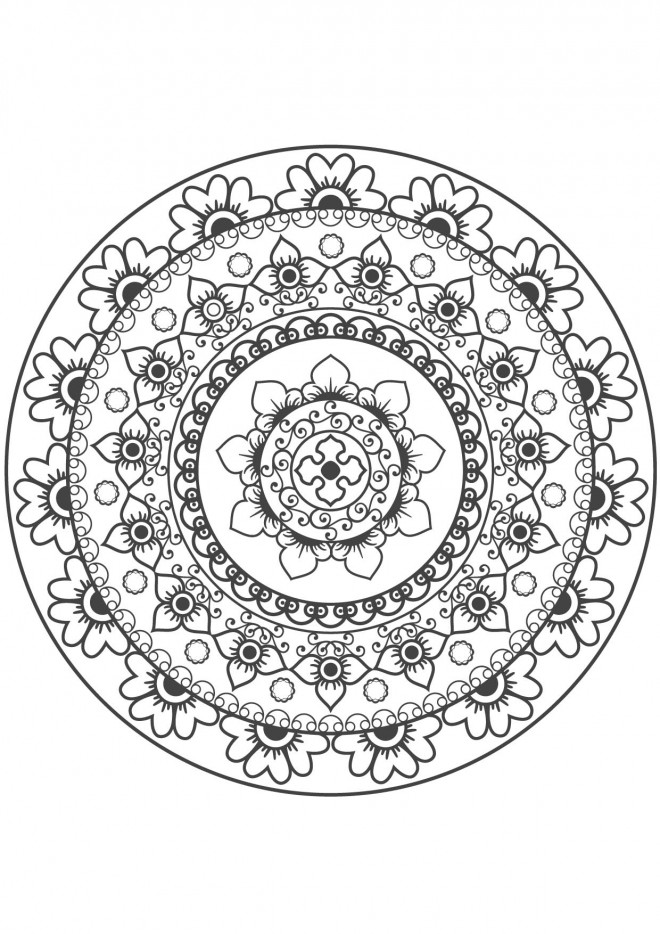 Coloriage et dessins gratuits Mandalas Difficile fleuri à imprimer