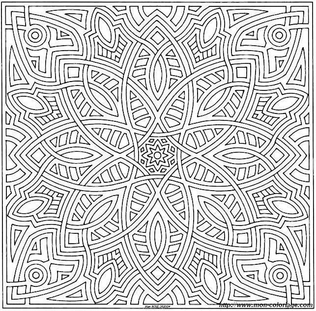 Coloriage et dessins gratuits Mandalas Difficile géométrique à imprimer