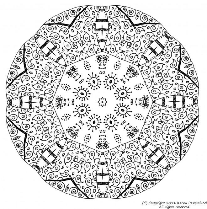 Coloriage et dessins gratuits Mandalas Difficile pour relaxer à imprimer