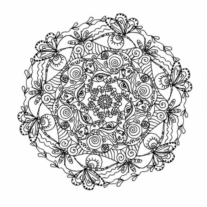 Coloriage et dessins gratuits Mandala complexe pour les grands à imprimer