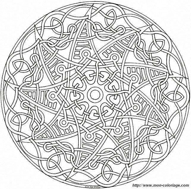 Coloriage et dessins gratuits Mandala Difficile sur ordinateur à imprimer
