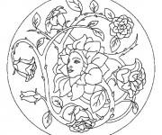 Coloriage Mandala Femme en forme de Fleur