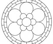 Coloriage Mandala Fleur à six Pétales