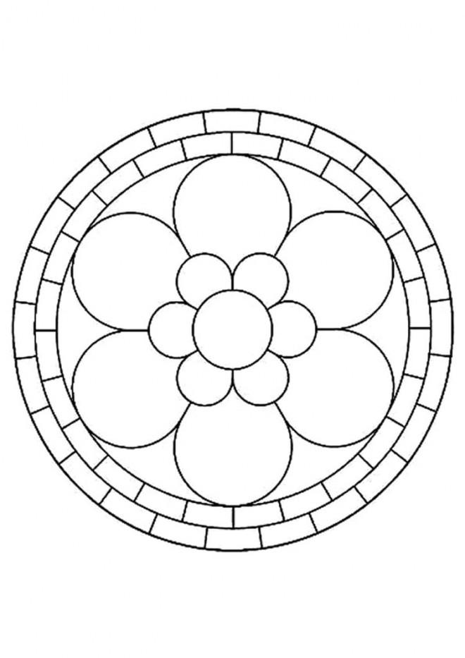 Coloriage et dessins gratuits Mandala Fleur à six Pétales à imprimer