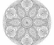 Coloriage et dessins gratuit Mandala fleur adulte anti-stress à imprimer