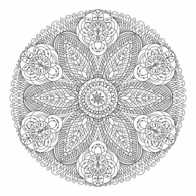 Coloriage et dessins gratuits Mandala fleur adulte anti-stress à imprimer