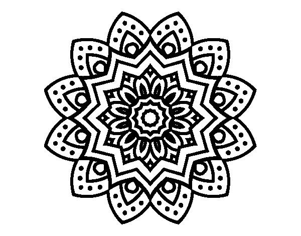 Coloriage et dessins gratuits Mandala Fleur Art en noir à imprimer