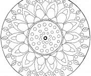 Coloriage et dessins gratuit Mandala Fleur Difficile en couleur à imprimer