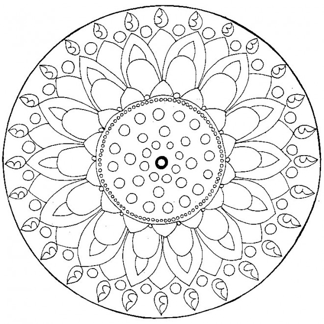 Coloriage et dessins gratuits Mandala Fleur Difficile en couleur à imprimer