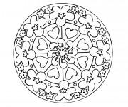 Coloriage Mandala Fleur et Coeur