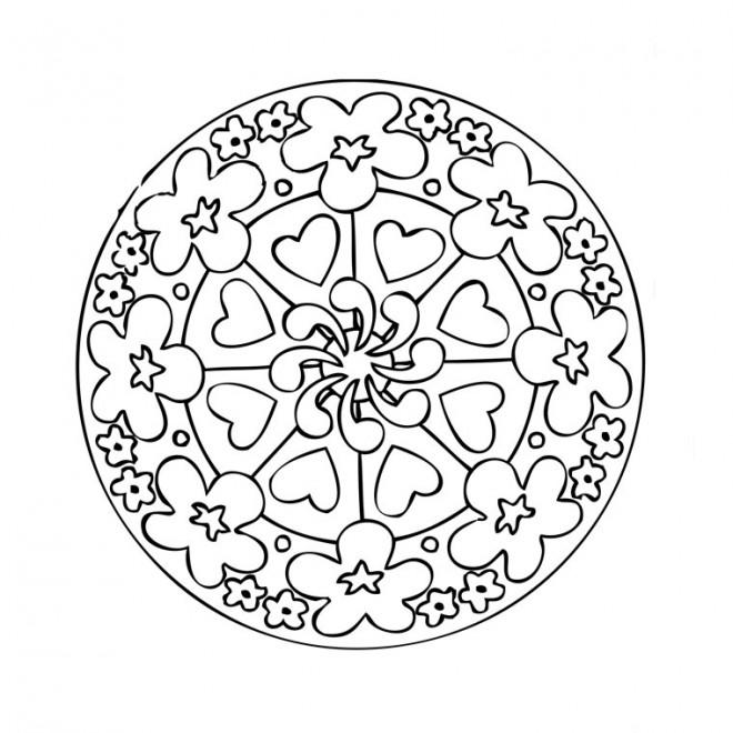 Coloriage Fleur Et Coeur A Imprimer.Ce Mandala Cœur Avec Fleurs Sicilfly