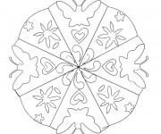 Coloriage et dessins gratuit Mandala Fleur et Papillon à imprimer