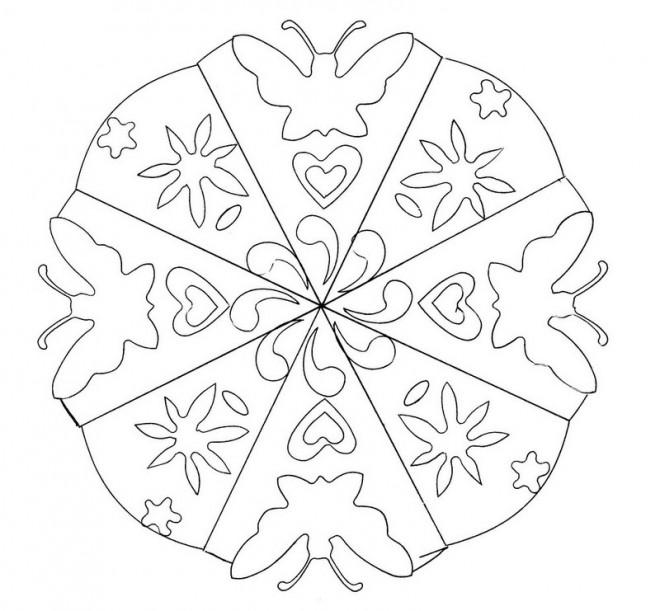Coloriage et dessins gratuits Mandala Fleur et Papillon à imprimer