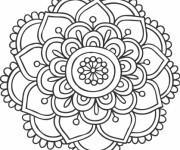 Coloriage et dessins gratuit Mandala Fleurs à découper à imprimer