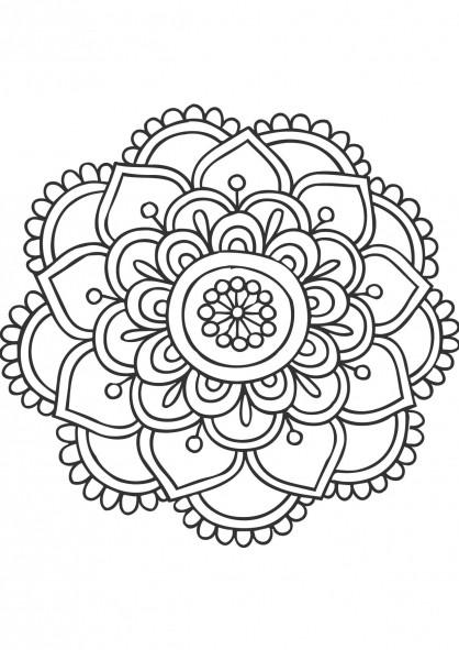 Coloriage et dessins gratuits Mandala Fleurs à découper à imprimer