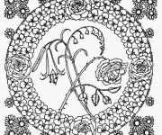 Coloriage Mandala Fleurs au centre
