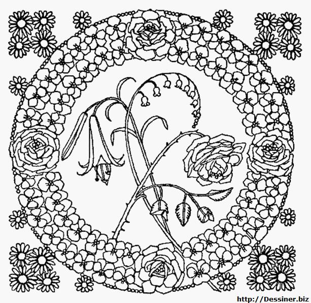Coloriage et dessins gratuits Mandala Fleurs au centre à imprimer