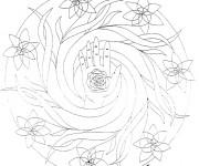 Coloriage Mandala Fleurs autour de La Main