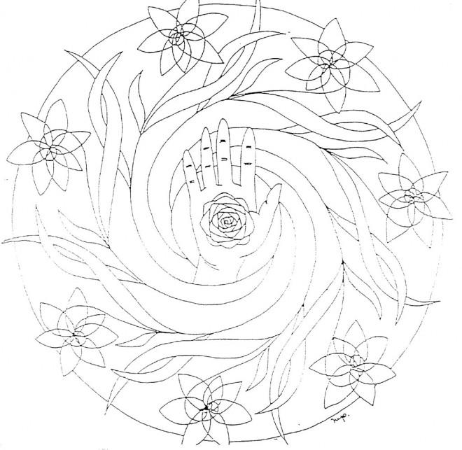 Coloriage et dessins gratuits Mandala Fleurs autour de La Main à imprimer