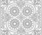 Coloriage et dessins gratuit Mandala fleurs centrées à imprimer