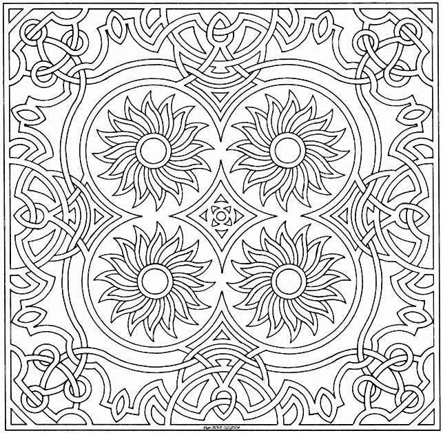 Coloriage et dessins gratuits Mandala fleurs centrées à imprimer