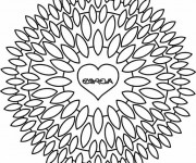Coloriage Mandala Fleurs en forme de Coeur