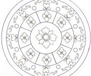 Coloriage Mandala Fleurs encerclées