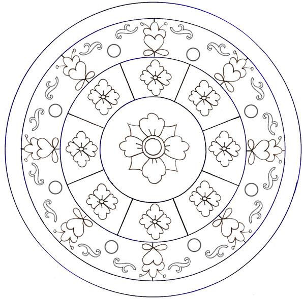 Coloriage et dessins gratuits Mandala Fleurs encerclées à imprimer