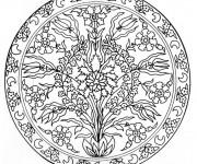 Coloriage Mandala Fleurs et Croissant