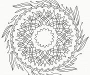 Coloriage Mandala Fleurs et Feuilles