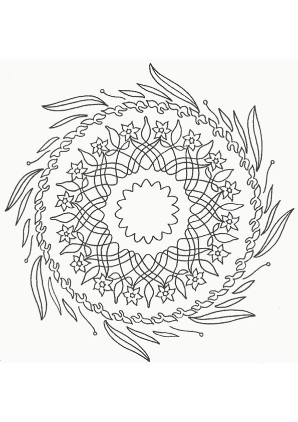 Coloriage et dessins gratuits Mandala Fleurs et Feuilles à imprimer