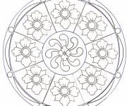 Coloriage et dessins gratuit Mandala Fleurs mozaïque à imprimer