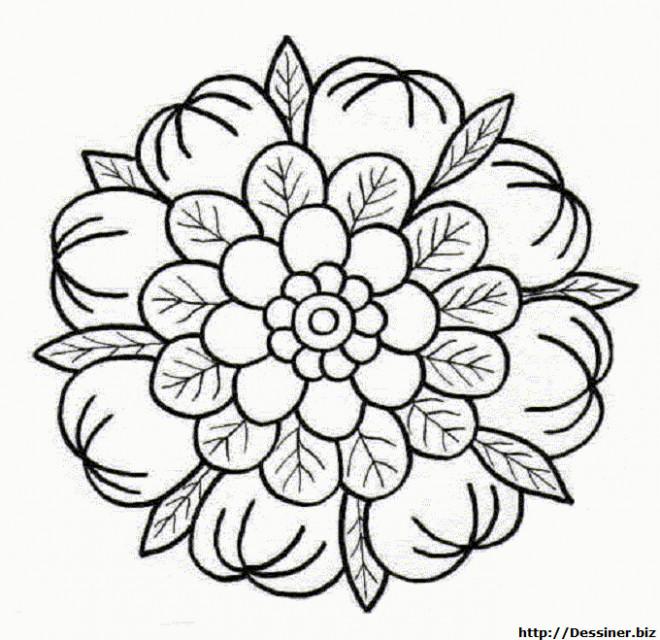 Coloriage et dessins gratuits Mandala Fleurs sympathique à imprimer