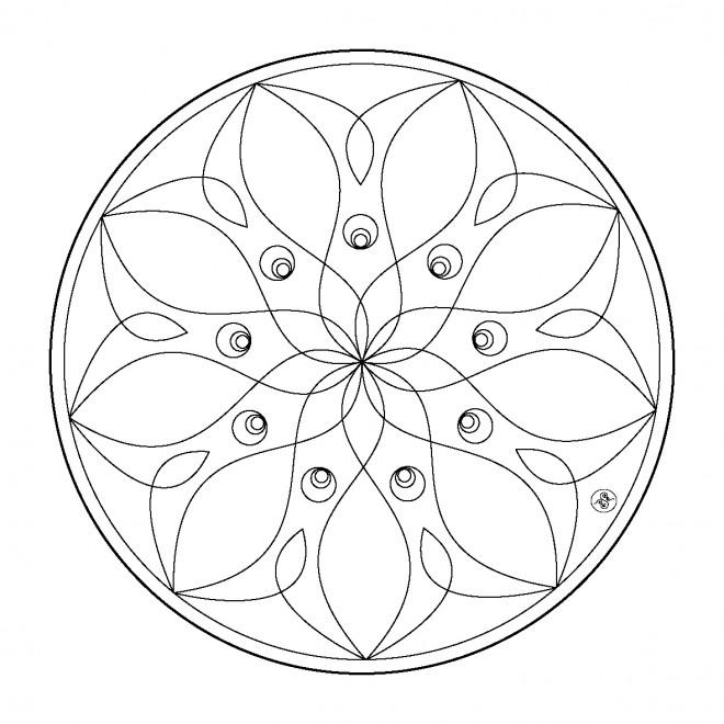 Coloriage et dessins gratuits Mandala Fleurs vecteur à imprimer