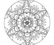 Coloriage et dessins gratuit Mandala Psychédélique Fleurs à imprimer