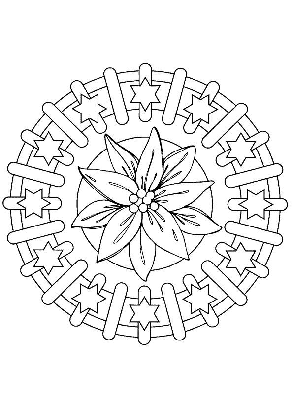 Coloriage et dessins gratuits Mandalas Fleurs et Étoiles à imprimer