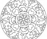Coloriage Mandalas Fleurs et Papillon simple